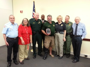 Pictured above (left to right): Fernando Cuellar, Citizens on Patrol volunteer Weston District; Capt. Scott Russell Y&NS (Youth and Neighborhood Services); Chaplain Nathaniel Knowles, BSO Head Chaplain; Deputy Kevin Bolling, BSO K-9 ( Bloodhound), TRAID Board Member, Crime Prevention Practitioner; Ann Zucker, Triad Member, BSO Fire Services Educator; Deputy Debra Wallace, Oakland Park Dist, K-9 (Bloodhound); Lloyd Edelstein, BSO Retired, VP TRAID Executive Board