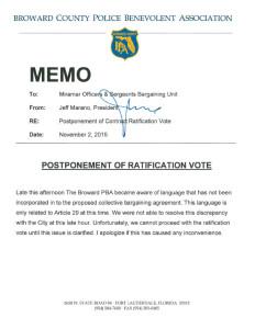 Postponement of Ratification Vote